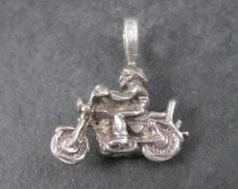 Tiny Vintage Sterling Biker Motorcycle Pendant