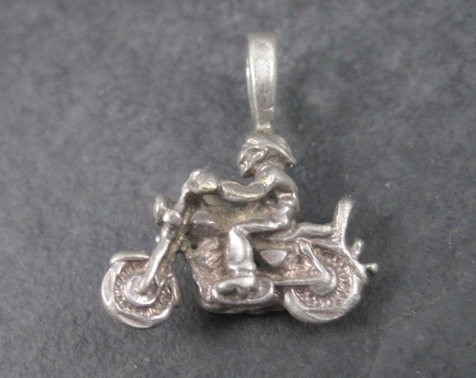 Tiny Vintage Sterling Biker Motorcycle Pendant