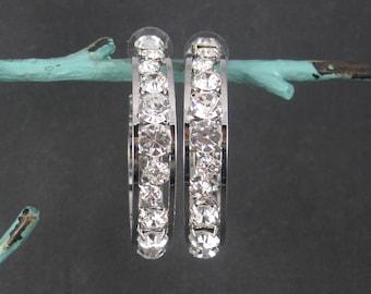 Huge 2.25 Inch Vintage Rhodium Plated Cubic Zirconia Hoop Earrings