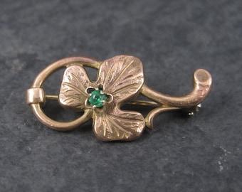 Vintage Rose Gold Filled Green Rhinestone Leaf Brooch