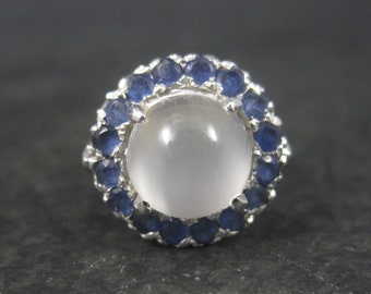 Sterling White Moonstone Sapphire Halo Ring Size 5.25