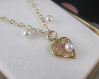 Dainty Vintage 10K Black Hills Gold Pearl Heart Pendant Earrings Jewelry Set New Old Stock