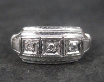 Antique 14K White Gold Diamond Milgrain Ring Size 6.25
