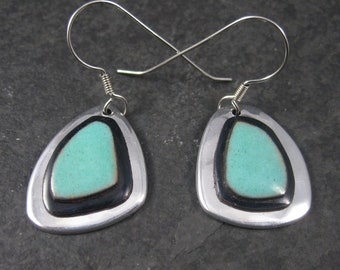 Vintage Sterling Black and Turquoise Ceramic Earrings