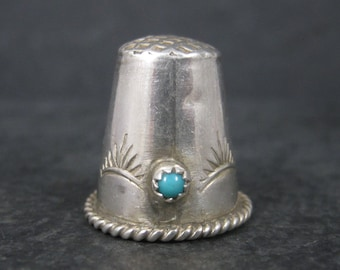 Vintage Southwestern Sterling Turquoise Thimble