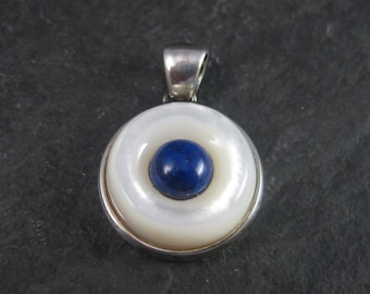Vintage Sterling Mother of Pearl Lapis Lazuli Pendant