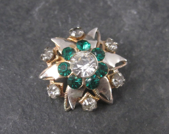 Vintage Starburst Green Rhinestone Brooch Pin