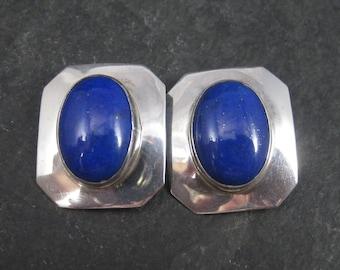Vintage Southwestern Sterling Lapis Lazuli Clip On Earrings
