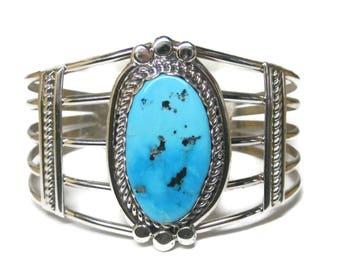 Large Vintage Navajo Turquoise Cuff Bracelet Harrison Yazzie