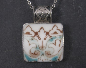Vintage Sterling Blue and Brown Pottery Pendant Necklace