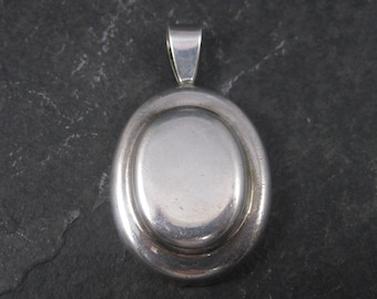 Vintage Domed Modernist Sterling Oval Pendant