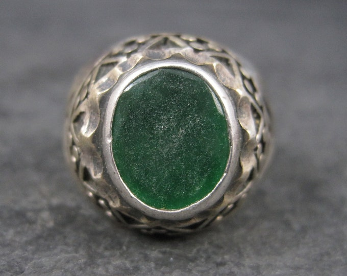 Mens Vintage Sterling Green Roman Glass Ring Size 11