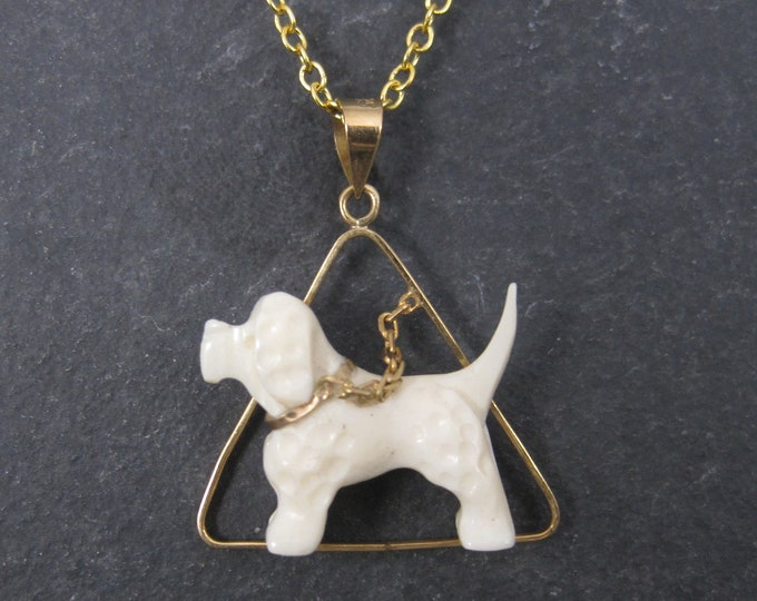 Vintage 14K Carved Bone Springer Spaniel Dog Pendant Necklace