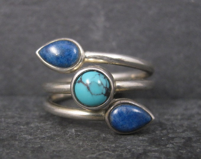 Vintage Sterling Turquoise Lapis Crossover Ring Size 7 Whitney Kelly