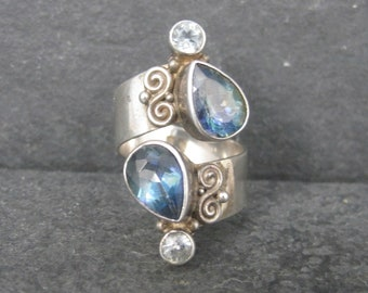 Vintage Sterling Mystic Topaz Ring Adjustable Sajen