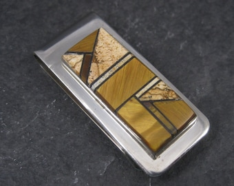 Vintage Sterling Navajo Inlay Money Clip Wallace Long