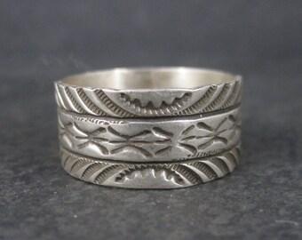 Vintage Sterling Navajo Band Ring Size 14 Rick Enriquez