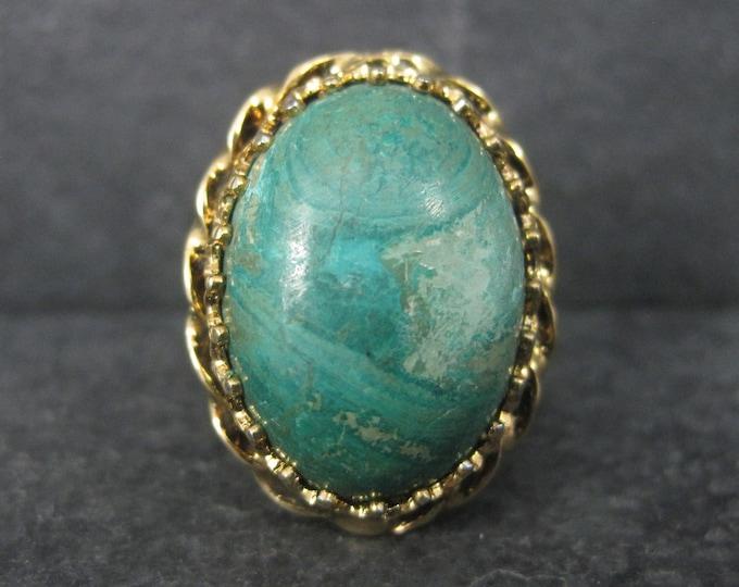 Vintage Vermeil Sterling Chrysoprase Ring Adjustable Size 6