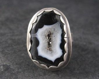 Vintage Black Druzy Geode Ring Sterling Size 9