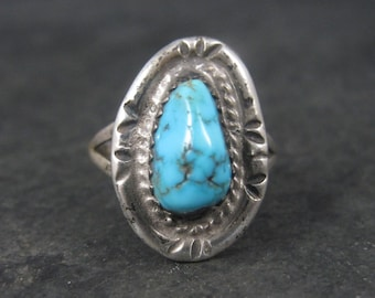 Simple Vintage Sterling Southwestern Sterling Turquoise Ring Size 7.75
