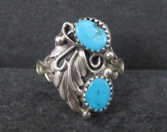 Vintage Southwestern Turquoise Feather Ring Size 9.5
