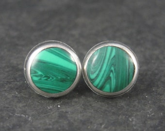 Vintage Mexican Sterling Malachite Stud Earrings 1/2 Inch
