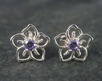 Tiny Vintage Sterling Amethyst Flower Stud Earrings