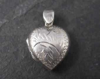 Vintage Sterling Puffy Heart Locket Pendant