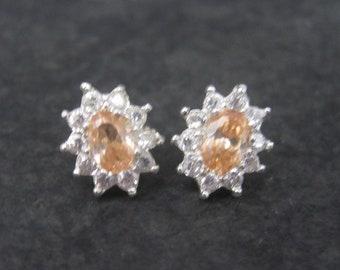 Vintage Peach Cubic Zirconia Stud Earrings