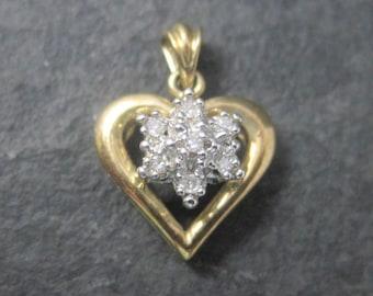 Small Vintage 10K Diamond Heart Pendant