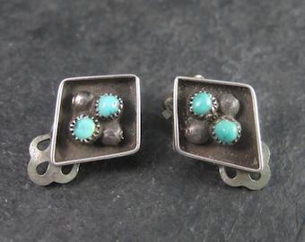 Vintage Southwestern Sterling Turquoise Clip On Earrings