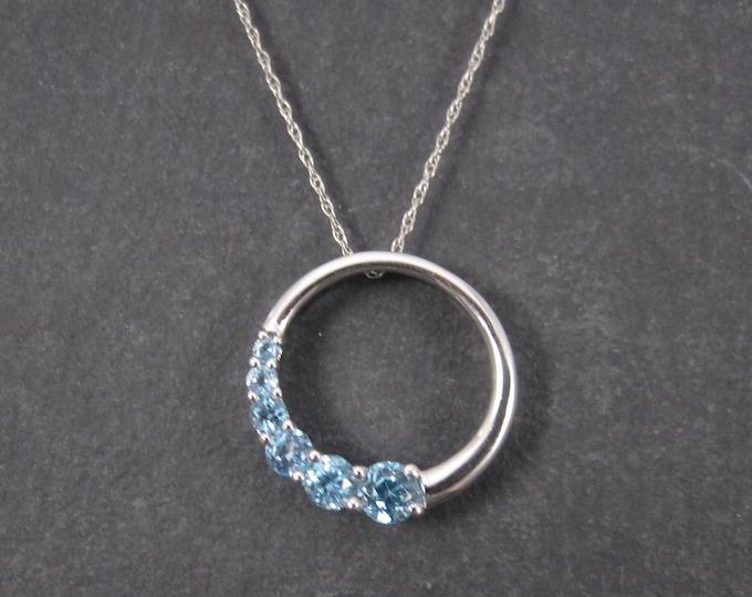 Vintage 10K Journey Circle of Life Blue Topaz Pendant Necklace
