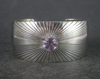 Wide Vintage Amethyst Cuff Bracelet Sterling 6 Inches