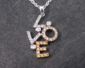 Vintage 14K Diamond Love Pendant Necklace