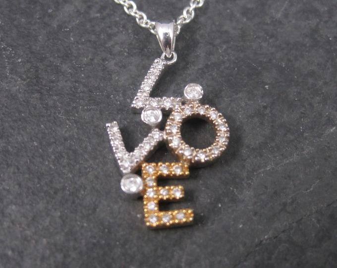 Vintage 14K Diamond Love Pendant Necklace