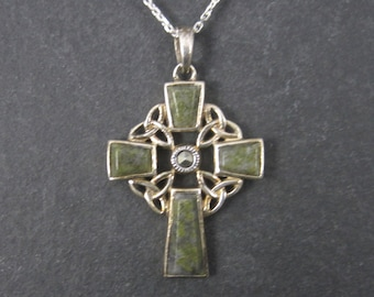 Celtic Irish Connemara Marble Cross Necklace 18 Inches