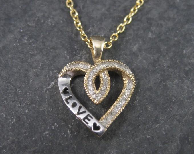 Vintage 10K Love Diamond Heart Pendant