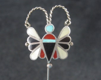 Vintage Southwestern Sterling Inlay Butterfly Stick Pin