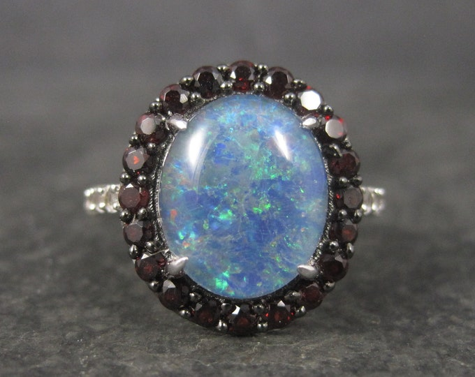 Modern Opal Garnet Halo Ring Size 7