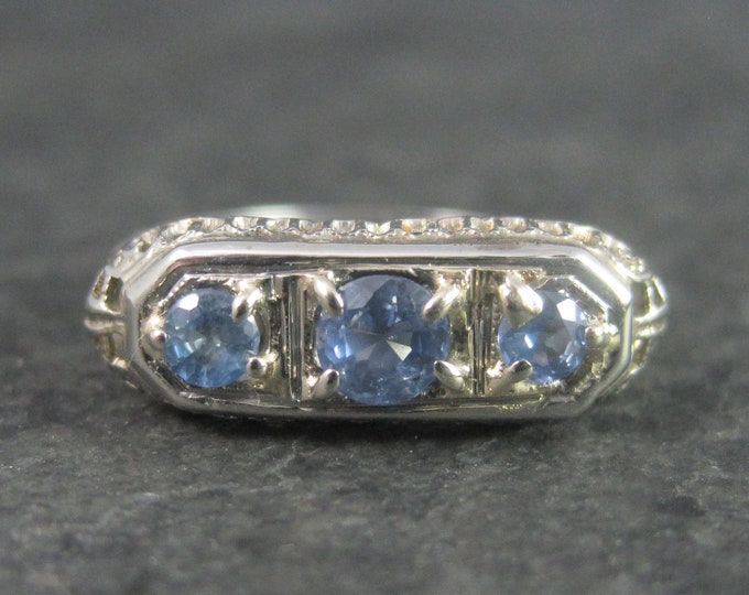 Featured listing image: Antique 14K Cornflower Blue Sapphire Filigree Ring Size 6
