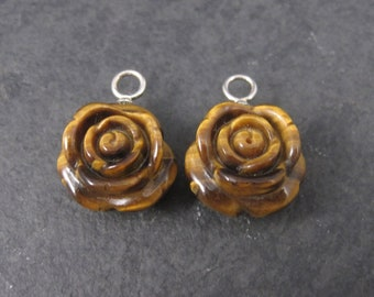 Carved Tigers Eye Rose Charms Lot of 2