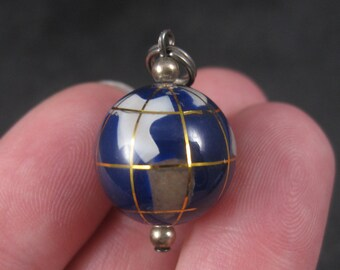 Sterling 15mm Gemstone Globe Charm