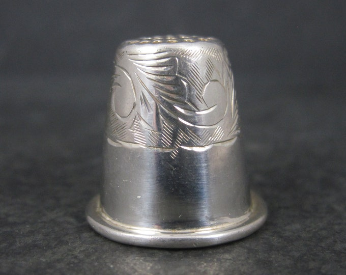 Vintage Sterling Etched Thimble