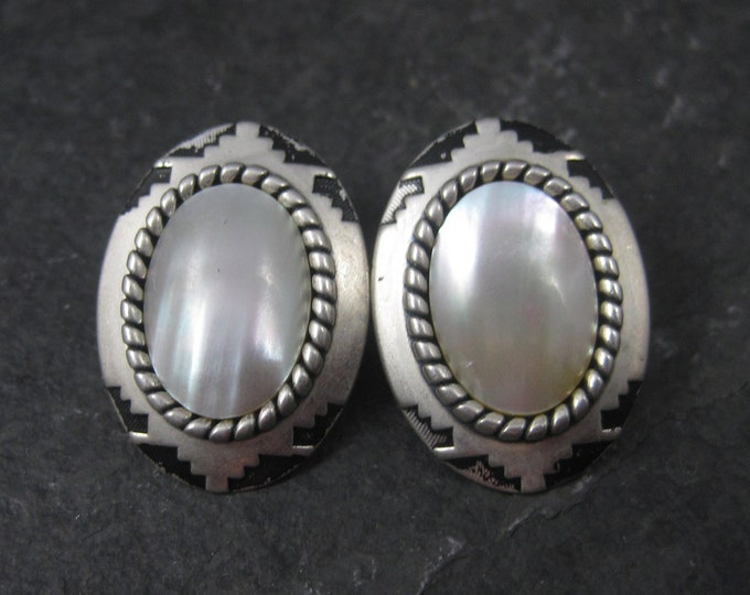 Vintage Sterling Southwestern Mabe Pearl Earrings Coleman Company