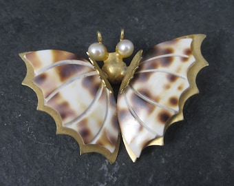 Vintage Brass Shell Butterfly Brooch
