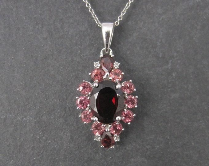 Vintage Sterling Garnet Ruby Pendant Necklace