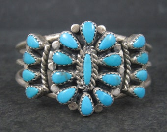 Vintage Sterling Childs Turquoise Cluster Cuff Bracelet 5 Inches