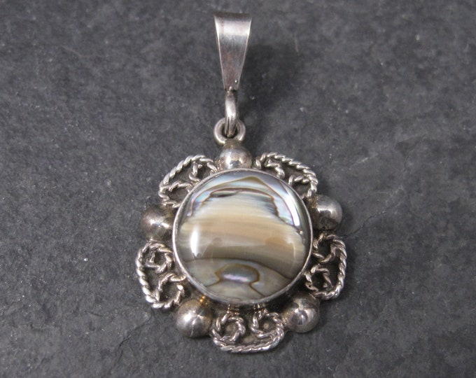 Mexican Sterling Abalone Flower Pendant