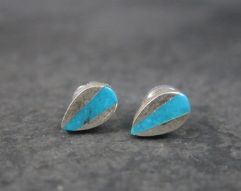 Tiny Vintage Southwestern Sterling Turquoise Inlay Stud Earrings