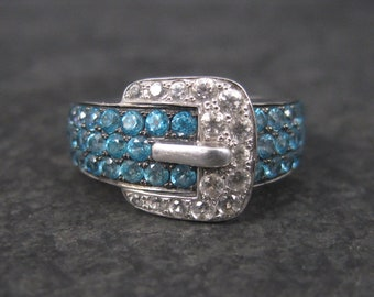 Sterling Silver White and Blue Topaz Buckle Ring Size 7
